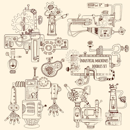 Industriële machines motoren en robots doodles set geïsoleerde vector illustratie