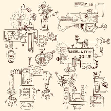 Motores de máquinas industriales y robots doodles conjunto ilustración vectorial aislado