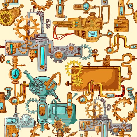 industrial machine: Industrial machines gears robot engineering technologies seamless pattern vector illustration
