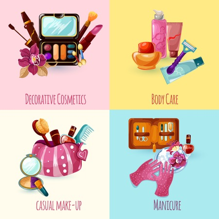 manicure: Cosmetics design concept set with casual make-up manicure body care icons isolated vector illustration