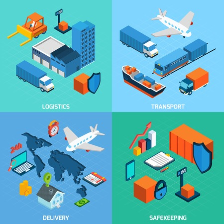 industrial vehicle: Logistics isometric set with transport safekeeping delivery 3d icons isolated vector illustration Illustration