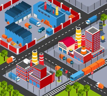 infraestructura: Infraestructura f�brica plantilla de dise�o isom�trica con edificios de planta y sistema de transporte ilustraci�n vectorial