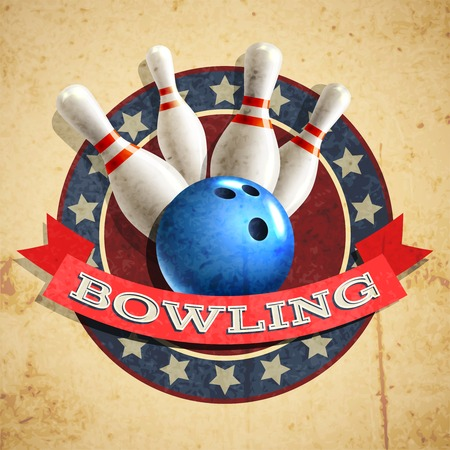 Bowling sport emblem with ball and pins on textured background vector illustration