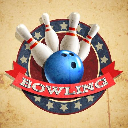 bolos: Bowling deporte emblema con la bola y pernos en textura de fondo ilustración vectorial