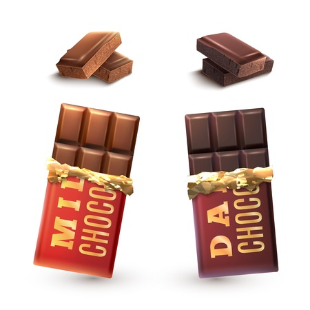 bar of chocolate: Milk and dark chocolate bars set and isolated pieces vector illustration