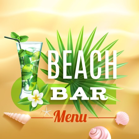 sand background: Tropical design poster with mojito cocktail glass palm leaf and seashell on beach sand background vector illustration