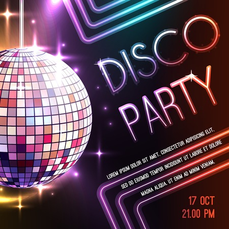 glitter ball: Disco dance party poster with glass ball decoration vector illustration