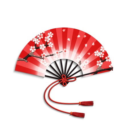 Realistic japanese folding fan with sakura flowers ornament isolated on white background vector illustration Çizim