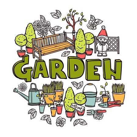 Gardening design concept with agriculture tools and equipment sketch vector illustration Vector