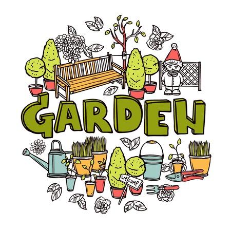 Tuinieren concept met de landbouw gereedschap en apparatuur schets vector illustratie