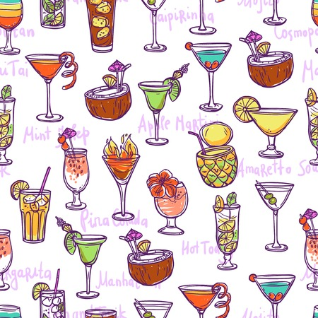 mojito: Cocktail seamless pattern with hand drawn sketch alcohol refreshments vector illustration Illustration