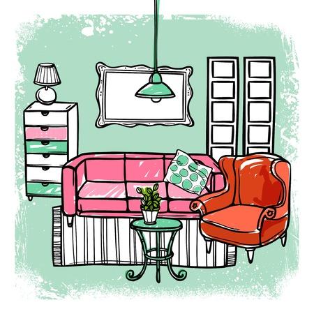 living room design: Living room interior design template with sketch furniture vector illustration