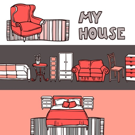 shop furniture: Furniture horizontal banner sketch set with house accessories isolated vector illustration Illustration