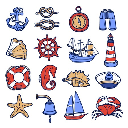 Nautical sketch decorative icon set with anchor rope compass binoculars isolated vector illustration Vector