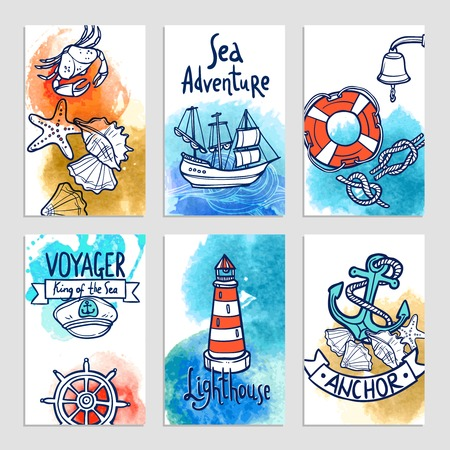 nautical vessel: Nautical cards set with hand drawn sea adventure elements isolated vector illustration