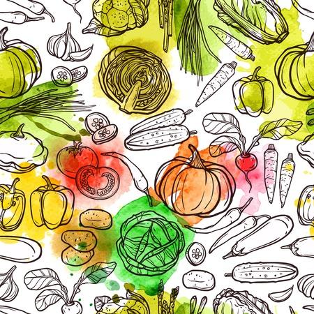 verduras verdes: Patr�n de la acuarela de verduras con pimienta r�bano boceto tomate berenjena ilustraci�n vectorial