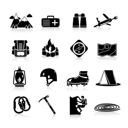 montagna: Escursioni d'accesso ed attrezzature alpinismo icone nero insieme isolato illustrazione vettoriale