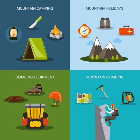 ice climbing: Climbing design concept set with mountain camping and hiking equipment flat icons isolated vector illustration
