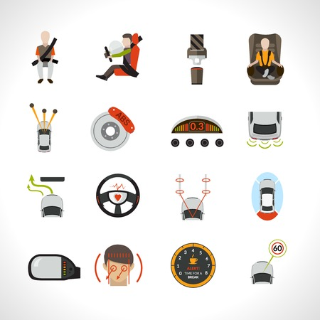 car driver: Car safety system safe driver and passenger transportation icons set isolated vector illustration