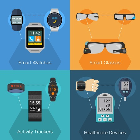 portable player: Wearable technology design concept set with smart watches glasses activity trackers flat icons isolated vector illustration