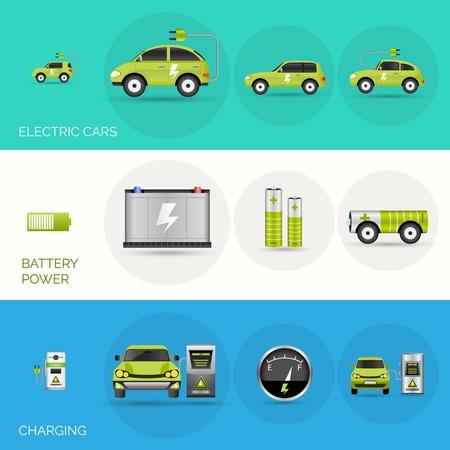 Coche eléctrico banners horizontales establecen con elementos de potencia de carga de la batería aislado ilustración vectorial