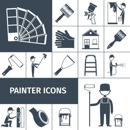 roller brush: House decoration icons set with paint scraper air brush and rubber gloves black abstract isolated vector illustration