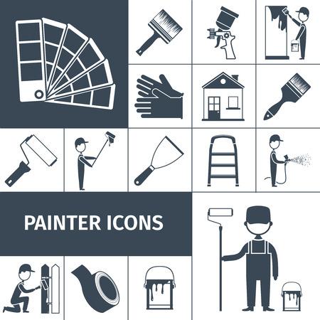 Huis decoratie pictogrammen set met verf schraper luchtborstel en rubberen handschoenen zwarte abstracte geïsoleerde vector illustratie