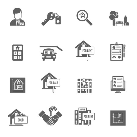 Real estate apartment sale and rent black icons set isolated vector illustration