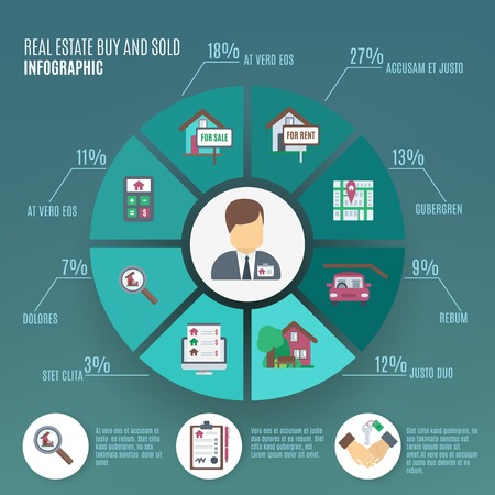 Real estate infographic set with property sale symbols and chart vector illustration