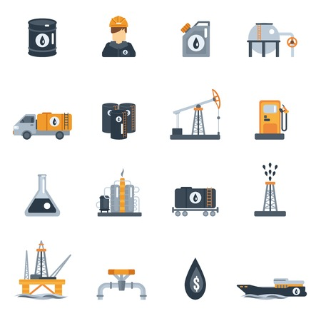 Oil industry petroleum product processing flat icon set isolated vector illustration