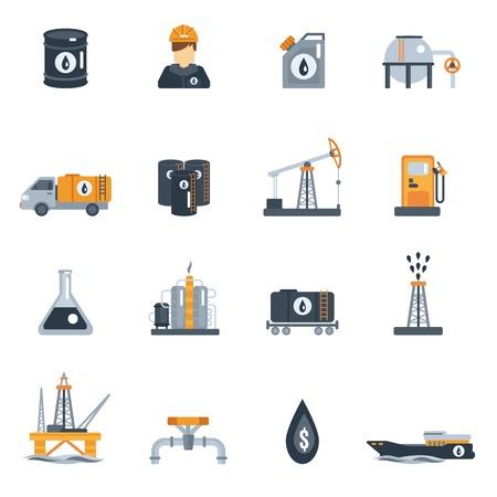 L'industrie pétrolière transformation des produits de pétrole icône ensemble isolé plat illustration vectorielle Vecteurs