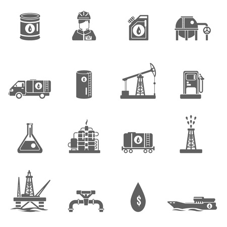 extraction: Oil gasoline and fuel extraction industry black icon set isolated vector illustration Illustration