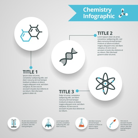 medicine infographic: Chemistry infographics set with science and research paper symbols vector illustration