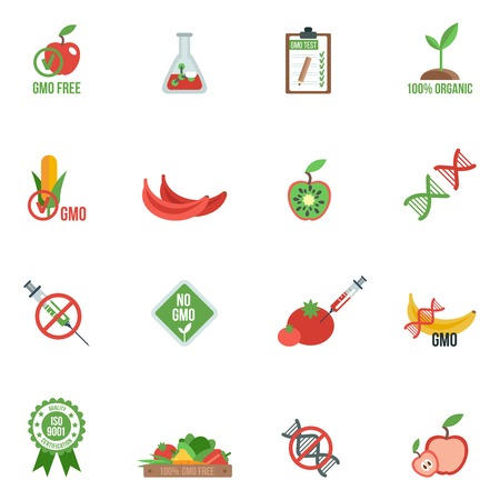 genomes: Gmo with genes modified food and warning information icons flat set isolated vector illustration