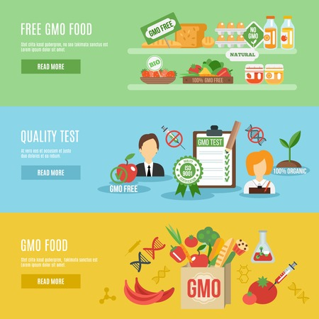 Gmo horizontal banner set with food quality test flat elements isolated vector illustration
