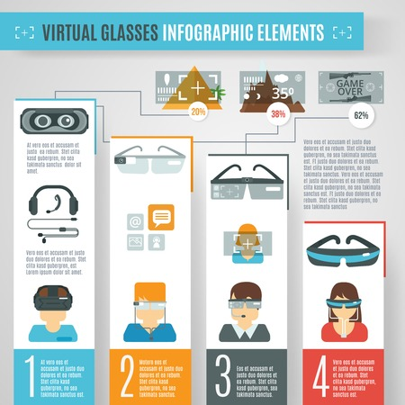 reality: Virtual reality infographics set with glasses camera technologies elements vector illustration