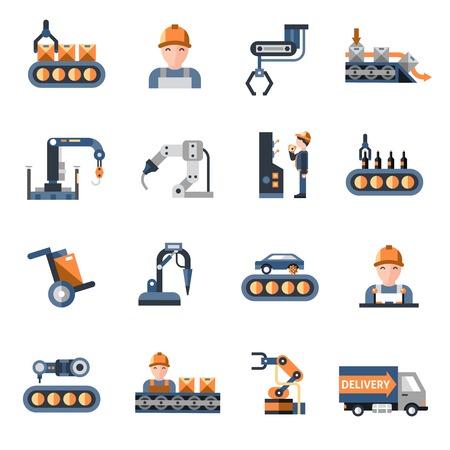 Productielijn industriële fabriek productieproces pictogrammen instellen geïsoleerde vector illustratie
