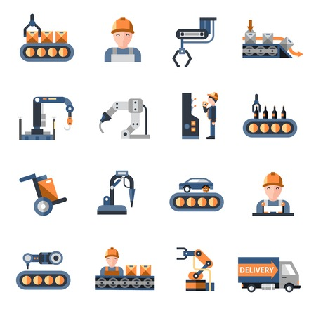 Production line industrial factory manufacturing process icons set isolated vector illustration Çizim