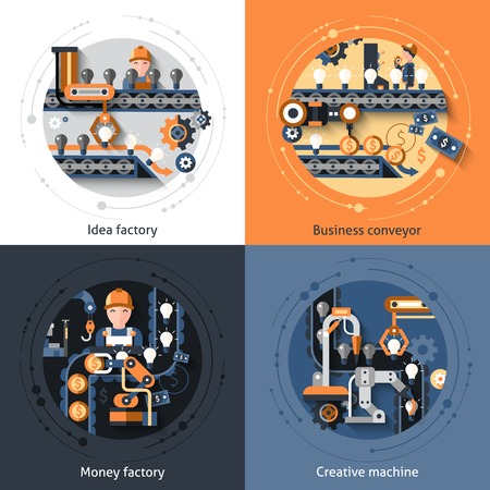 factory line: Business conveyor design concept set with idea money factory creative machine flat icons isolated vector illustration Illustration