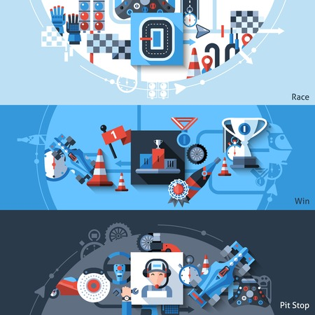 win win: Racing horizontal banner set with win and pit stop elements isolated vector illustration