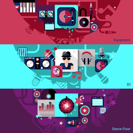 dj headphones: Dj horizontal banner set with dance floor equipment elements isolated vector illustration