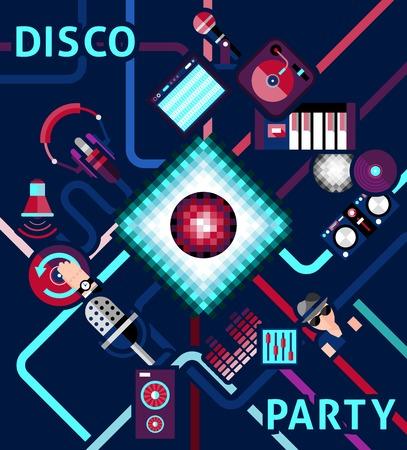 electronic music: Disco parte di fondo con apparecchiature musica elettronica e le icone dj set illustrazione vettoriale