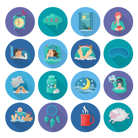 sleep: Sleep time flat long shadow icons set with alarm clock snoring man bedroom isolated vector illustration Illustration