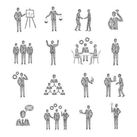 corporate hierarchy: Business people characters team meeting partnership corporate hierarchy icons sketch set isolated vector illustration