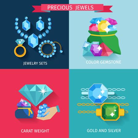 diamond jewelry: Gioielli preziosi concetto di scenografia con le icone piane oro e gioielli in argento pietre preziose di colore illustrazione vettoriale isolato