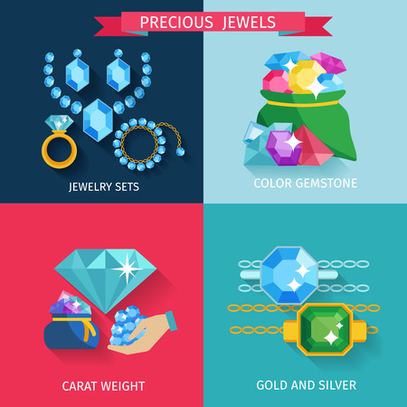 jewelry design: Precious jewels design concept set with gold and silver jewelry color gemstone flat icons isolated vector illustration