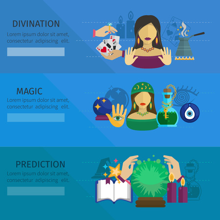 fortune design: Fortune teller horizontal banner set with divination and magic prediction flat elements isolated vector illustration Illustration