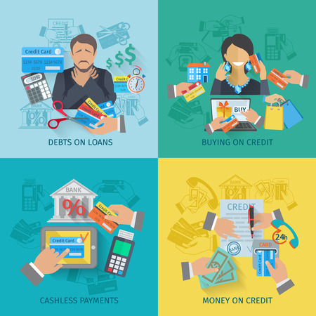Credit life design concept set with debts on loans cashless payments flat icons isolated vector illustration Illustration