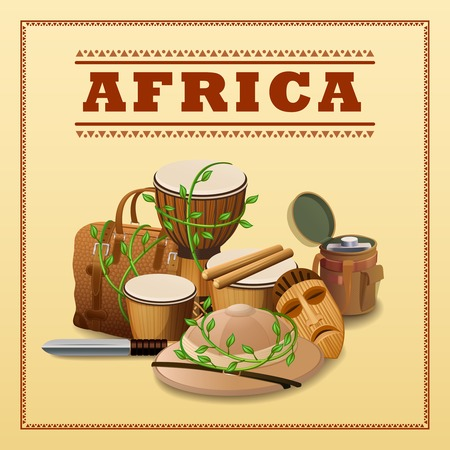 discovery: African travel background with expedition and discovery elements vector illustration