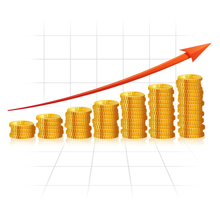 incremental: Incremental diagram made of realistic golden coins with red growth arrow vector illustration